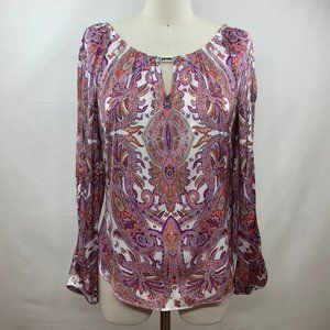 WHBM Long Sleeve Paisley Blouse with Cutouts